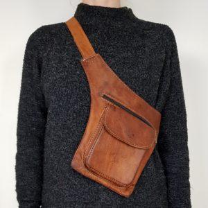Taske i cognac farvet kernelæder