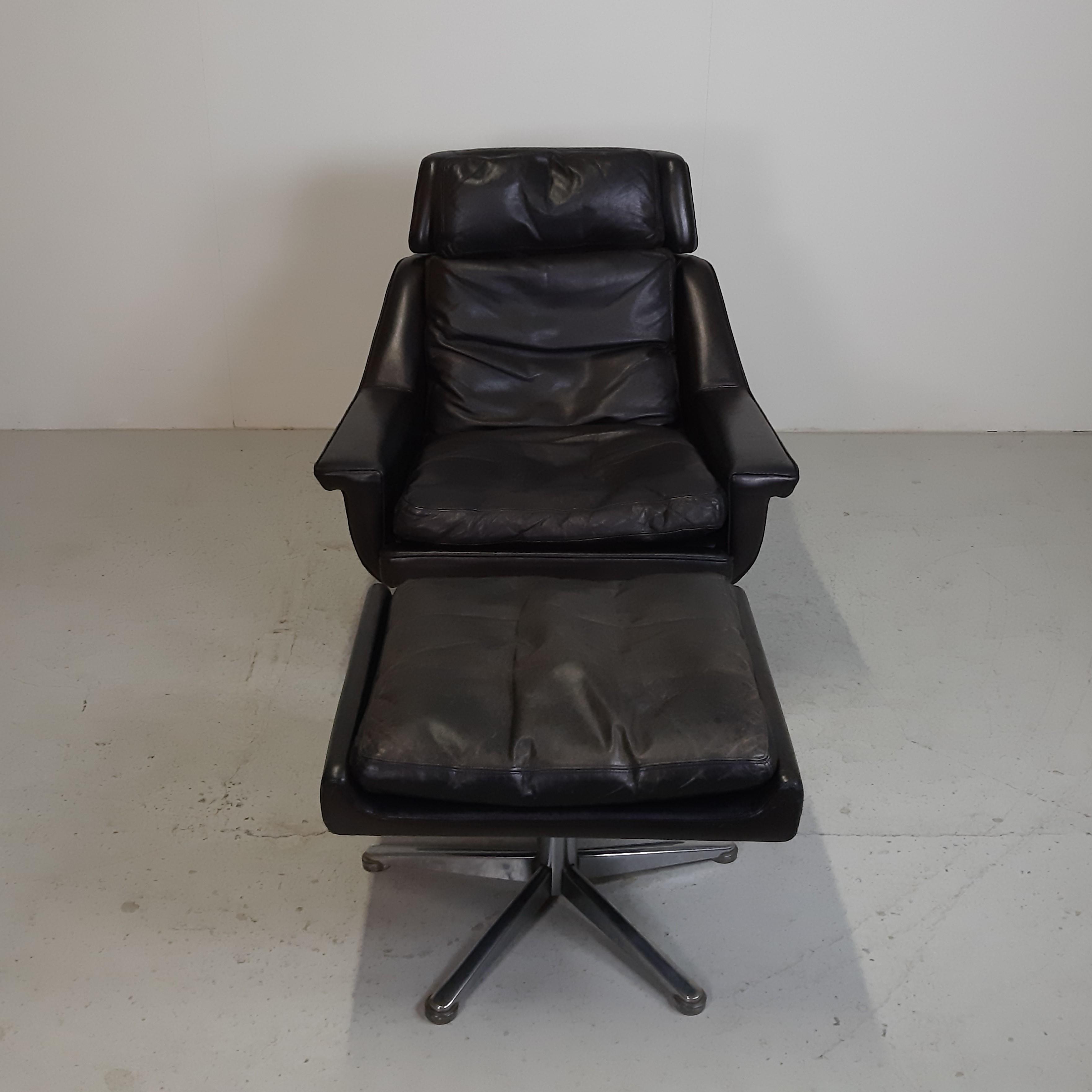 Massivt Langfeld Design   Læder lænestol - Retrofabrikken KQ45