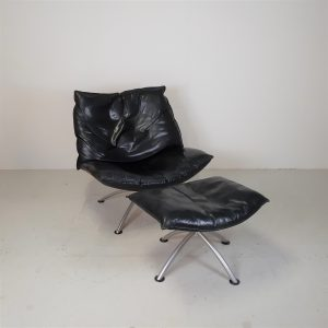 Loungestol incl. skammel | læder | Bøg