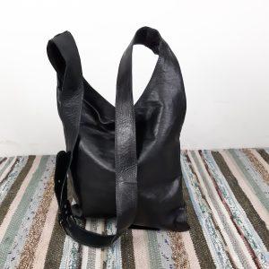 Læder taske i sort
