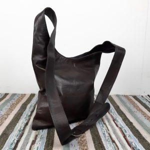 Lædertaske | Varm mørkebrun