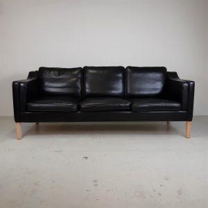 Hurup sofa   Sort læder   3 Pers.